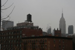 empire state building water tank nyc skyine snow in nyc